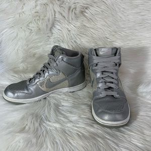 NIKE HIGH DUNK Silver Glitter Sequins Mid Shoes 9
